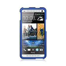 Luxmo CRHTCM7BL Unique Durable Rubberized Crystal Case for HTC One M7 – Retail Packaging – Blue