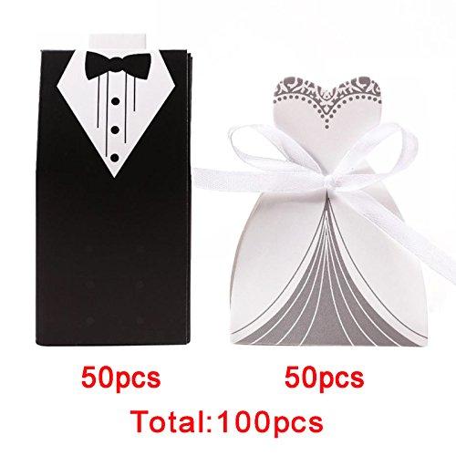 Bride Dress Candy Favor Bag (Ogrmar 100pcs Creative Party Wedding Favor Dress & Tuxedo Bride and Candy Box (white+black))