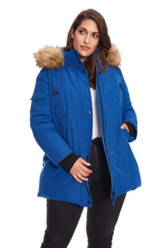 Alpine North Size Womens Vegan Down Parka Winter Jacket Plus, Cobalt, 2X