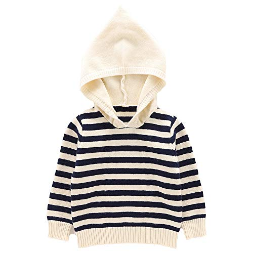 Moonnut Baby Boys Girls Striped Pullover Hoodie Unisex Baby Hooded Sweater with Pocket Casual Sweatshirt Tops (4T, Navy&White)