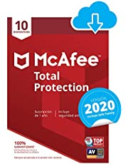 McAfee Total Protection 2020   10 Dispositivo   12 Meses   PC/Mac/Android/Smartphones   Código de activación enviado por email