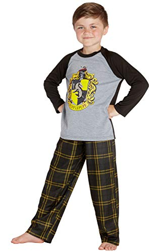 HARRY POTTER Boys' Raglan Shirt and Plaid Pajama Pants Set- All 4 Houses (Medium / 8, Hufflepuff Black/Yellow)