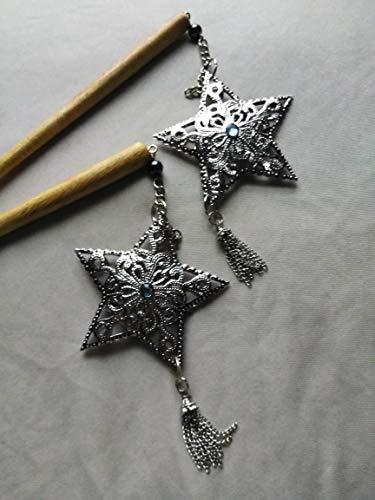 Star Stick Pin - [TWIN PACK] Hair Sticks - Metal Star Dangle - Tassle and Aquamarine Accent ...