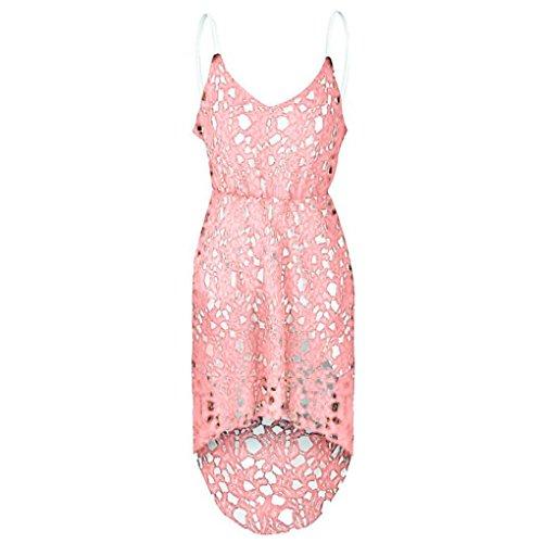vestidos de mujer,Switchali mujer verano Floral encaje Sin mangasvestido Cuello en V Cóctel Formal Swing Irregular Vestir mujer asimétrico vestidos Rosa