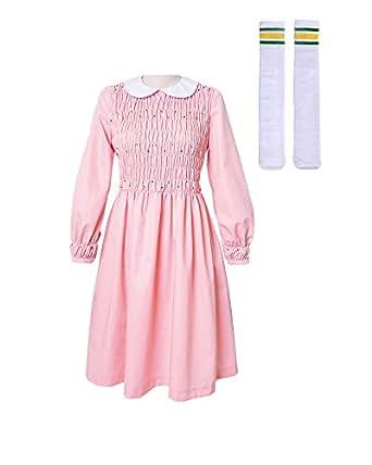 Miccostumes Girl's Pink Eleven Cosplay Dress Costume (women xs)