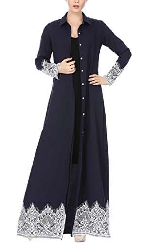 Jaycargogo À Long Musulman Garniture Dentelle Bouton Manches Vers Le Bas Des Femmes Arabia Robe Maxi Moyen-orient Caftan 2