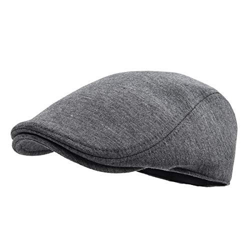 FEINION Men Cotton Newsboy Cap Soft Fit Cabbie Hat (Dark Grey) -