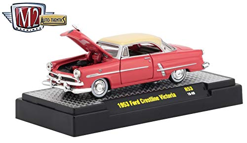 M2 Machines 1953 Ford Crestline Victoria (Flamingo Red) Auto-Thentics Series Release 53 - Castline 2019 Premium Edition 1:64 Scale Die-Cast Vehicle & Custom Display Case (R53 18-69)