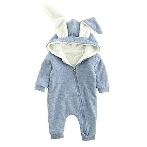 Ding-dong Baby Boys Girls Rabbit Romper (Blue with Fleece,6-9M)