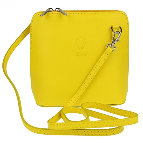 Cross or Body Genuine Leather Shoulder Mini Bag Italian Yellow Bag Vera Pelle Hq6SXC