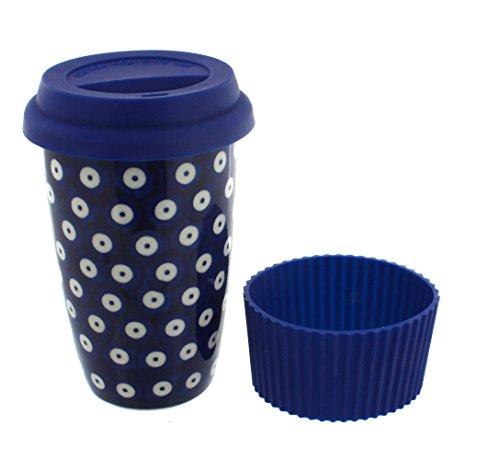 (Blue Rose Polish Pottery Dots Travel Coffee Mug)