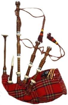 Schottische Shesham Holz Great Highland Dudelsack Palisanderholz Halb Set