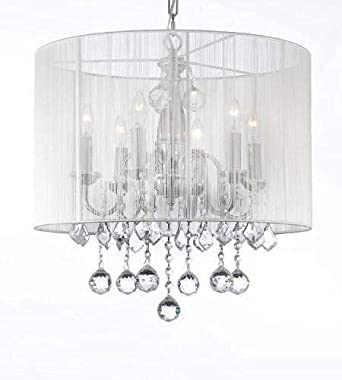 Crystal Chandelier Chandeliers With Large White Shade 40MM Crystal Balls H 19.5 x W 18.5