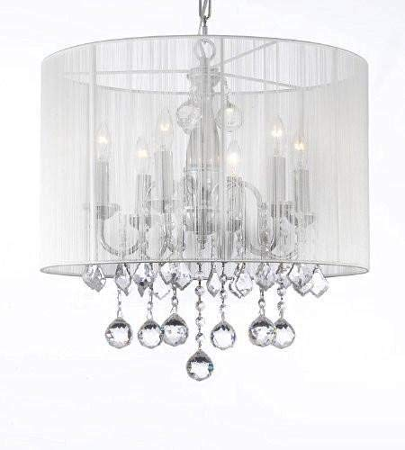 Crystal Chandelier Chandeliers With Large White Shade & 40MM Crystal Balls ! H 19.5
