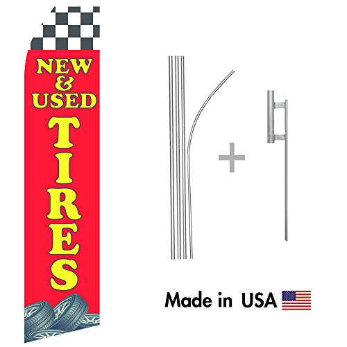 New and Used Tires Econo Flag | 16ft Aluminum Advertising Swooper Flag Kit with Hardware