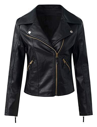 Sungtin Women's Black Faux Leather Motorcycle Biker Jacket Slim Short Coat US Size L/12 = Chinese Size 3XL PY713