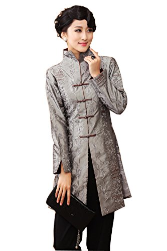 JTC Womens Chinese Tang Suit Style Long Sleeve Dust Coat Grey - Chinese Silk Jacket Coat Womans