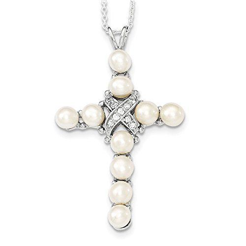 Sterling Silver CZ and Cultured Pearl Cross Necklace 16 Inches