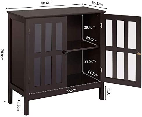 home, kitchen, furniture, accent furniture,  storage cabinets 8 on sale Yaheetech Floor Storage Cabinet with Glass Door and promotion