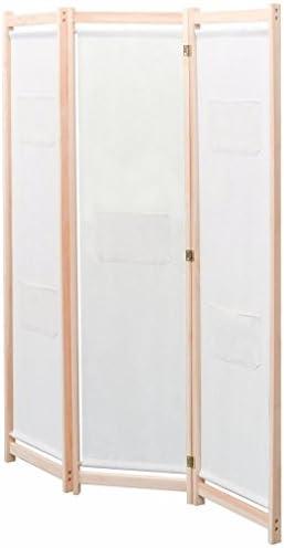 Nishore Biombo Divisor 3 Paneles de Tela Cremqa 120 x 170cm Madera Maciza Pino, Mampara Separador (Crema): Amazon.es: Hogar
