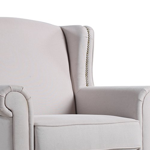 Classic Scroll Arm Fabric Living Room Chair With Nailhead Trim Beige Buy Online In Uae