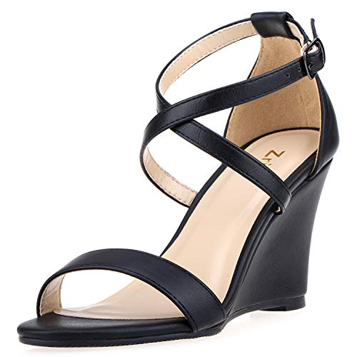 (ZriEy Women's Ankle Strap Buckle Mid Wedge Platform Heeled Sandals 3 Inch Summer Dress Sandals Pump Shoes Black Size 5)