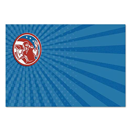 Large Wall Mural Sticker [ Sports,Pop Art Gridiron Illustration with Old Fashioned Visual Properties Throwing Man Print,Blue Red ] Self-Adhesive Vinyl Wallpaper/Removable Modern Decorating Wall ()