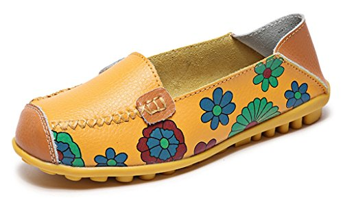 Labato Women's Casual Leather Loafers Slip-On Slippers Driving Flat Shoes Yellow-01
