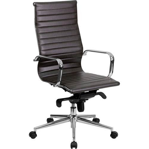Parkside High Back Brown Ribbed Upholstered Leather Executive Swivel Office Chair