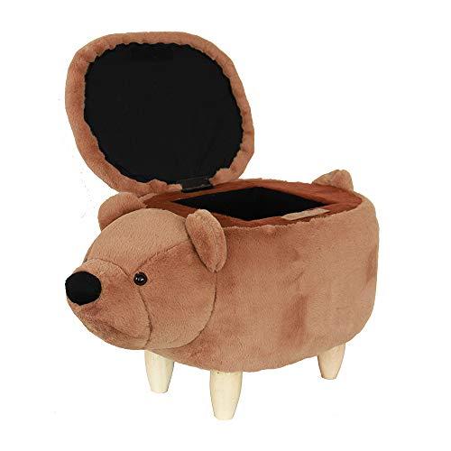 HAOSOON Animal ottoman Series Storage Ottoman Footrest Stool with Vivid Adorable Animal-Like Features(Brown Bear) (brown) (Bear Stool)