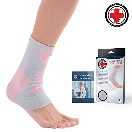 Doctor Developed Ankle Brace/Compression Sleeve/Ankle Support – & Doctor Written Handbook – Protector/Guard with Silicon Gel Pad for Foot Support [Single] (Pink/Grey, L)