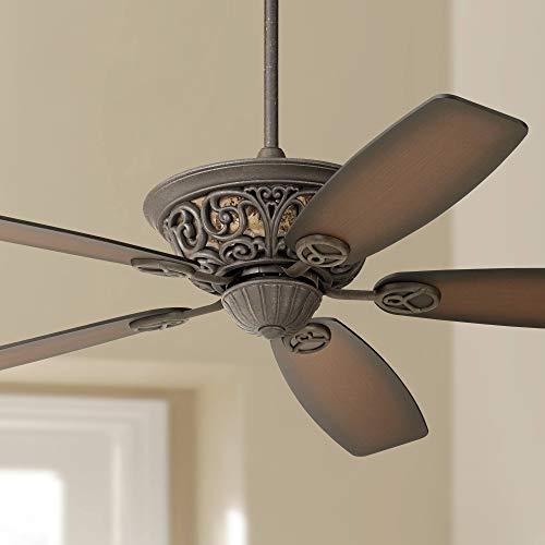 "56"" Casa Brisbane Vintage Ceiling Fan Black Rust Teak Shaded Blades for Living Room Kitchen Bedroom Family Dining - Casa Vieja"