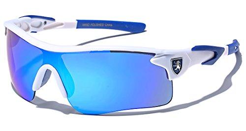 Premium Half Frame Sports Mirror Lens Cycling Outdoor Sunglasses - White & Blue