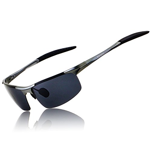 Ronsou Men Sport Al-Mg Polarized Sunglasses Unbreakable For Driving Cycling Fishing Golf gray frame/gray lens