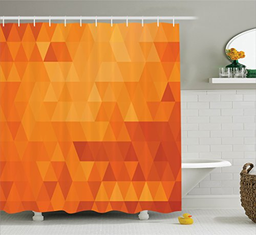 Ambesonne Burnt Orange Decor Shower Curtain Set, Triangle Mosaic Shaded Shapes And Patterns Abstract Digital Pixel Decorative Home, Bathroom Accessories, 69W X 70L Inches, Burnt Orange