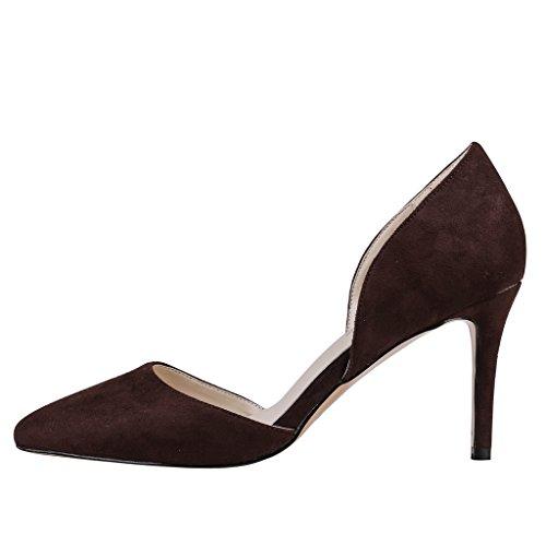MERUMOTE Womens Y-05044 Pointed Toe Middle Heels Dress Classic Pump US 5.5-15 Dark Brown-suede