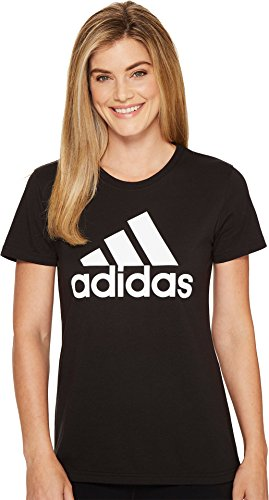 adidas Womens Badge of Sport Logo Tee, Black/White/Classic, Large