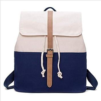 OneMoreT Mochila escolar de lona para adolescentes, niñas, mochilas femeninas, mochilas sólidas con patchwork, bolsa casual para mujer, azul: Amazon.es: ...