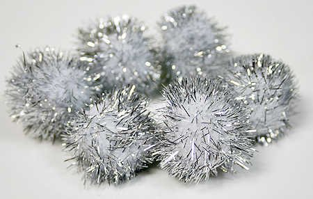 Package of 48 Holiday Metallic Silver Tinsel Craft Pom Poms for Crafts, Kids Projects, and More by Unknown