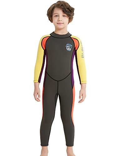 beac0b7804 DIVE   SAIL Kids Wetsuit 2.5mm Neoprene Keep Warm for Diving Swimming  Canoeing UV Protection(Gray