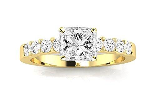 Chandni Jewels 2 Cttw 14K Yellow Gold Princess Cut Classi...