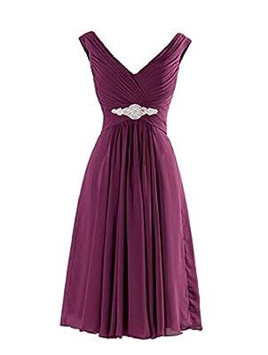 Yougao Women's V Neck A-Line Knee Length Chiffon Evening Party Dresses