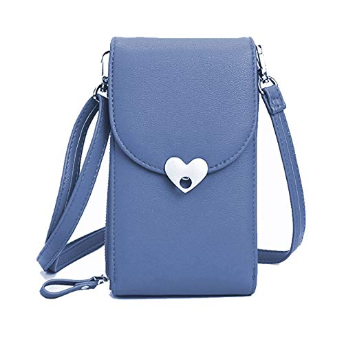 Womens Wholesale Handbags (Small Crossbody Bags Cell Phone Purse Wallet Leather Pouch Card Houlder Shoulder Strap Handbag Women Girls Blue)