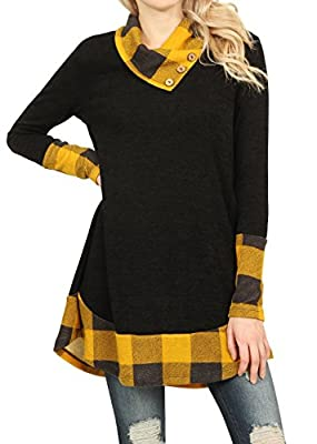 Imily Bela Womens Buffalo Plaid Patched Full Sleeve Button Cowl Blouses Loose Tunic Dress