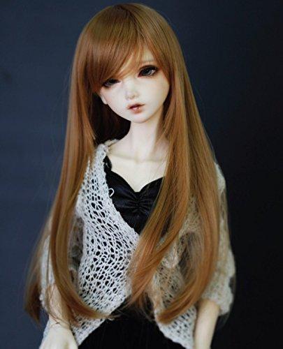 Kuafu 9-10 Inch (22-24cm) 1/3 BJD/SD Doll Wig High Quality Cute Long Straight Soft Wigs Hair Brown by Kuafu (Image #1)