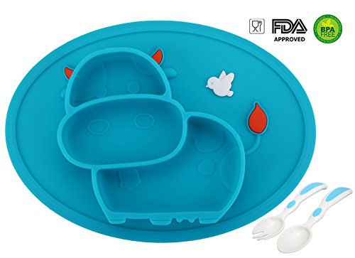 Baby Silicone Placemat, Non-Slip Feeding Plate for Toddlers Babies Kids with Strong Suction Fits Most Highchair Trays BPA-Free FDA Approved, Dishwasher and Microwave Safe