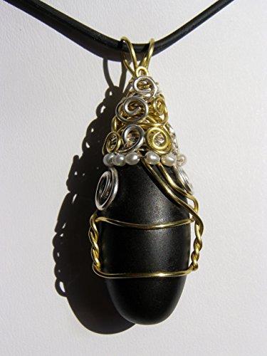 Black Shiva Lingham, natural stone, wire wrapped pendant, small (Shiva Wire)