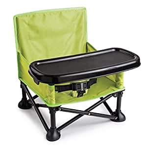 Summer Pop 'n Sit Booster Seat, Green – Booster Chair for Indoor/Outdoor Use – Fast, Easy and Compact Fold, Can be Used as a Portable Highchair – For 6 months to 4 years (up to 37 pounds)