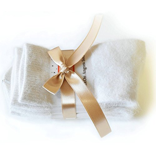 Wool J Trousers Crew - Walkon Women's Angora Pure Socks,Ivory (3pair),5-8