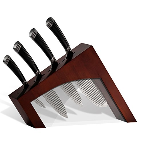 Casaware 5pc Knife Block Set (All Purpose, Chef, Serrated Utility, Paring, Knife Block) (Espresso)